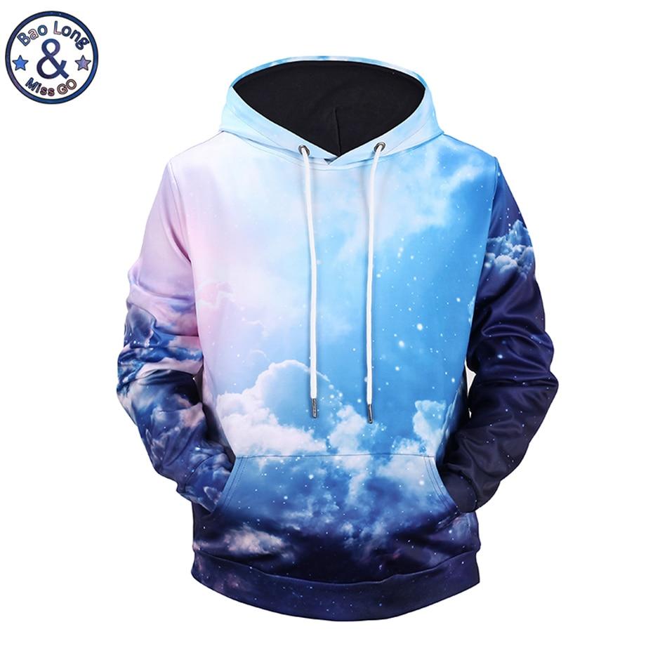 Mr.BaoLong brand fashion beautiful Blue sky 3D printed hooded hoodies mens drawstring hoodies pullover sweatshirt H115