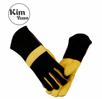 KIM YUAN 048Leather Welding Gloves-Heat/Fire Resistant, for Welder/Oven/Fireplace/Animal Handling/BBQ -Brown 14in