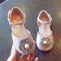 Designer de moda online sandálias menina apartamentos sapatos de verão rosa de metal strass beading flor de verão sapatos de casamento formal