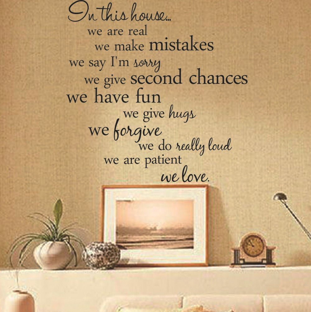 Home Decor Living Room DIY Black Wall Art Decals Removable House ...