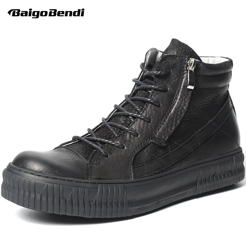 Retro Genuine Leather Black Men Boots Fashion Zip Martin Boots Man Lace Up Soliders Winter Boots Casual Shoes marmot lightweight zip neck ls cocona man black afterdark