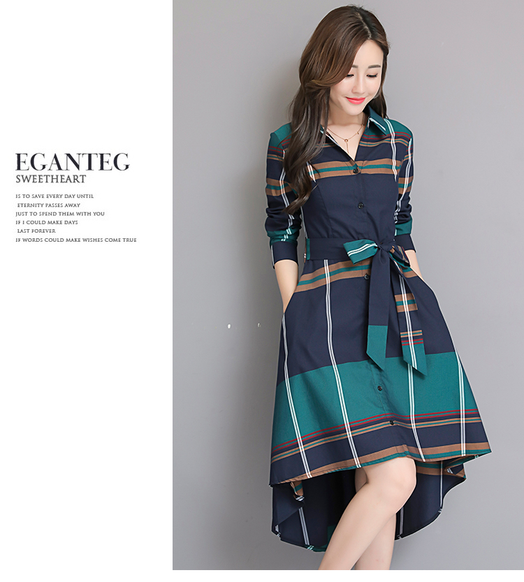 Vestido De Festa 18 Autumn Elegant Asymmetrical Hem Dress Bodycon Long Sleeve Turn-down Collar Party Plaid Dresses Plus Size 3