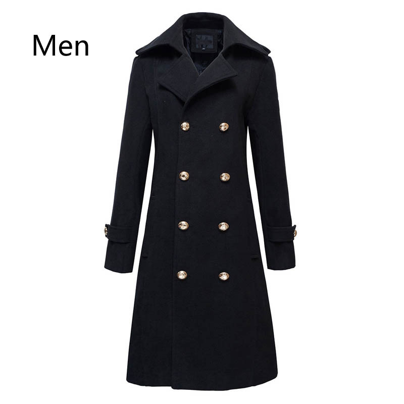 Winter Mens Military Double Breasted Wool Blend Long Jackets For Man Female Cotton Padded Warm Long Coats Male Windbreakers