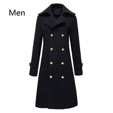 Winter Mens Military Double Breasted Wool Blend Long Jackets