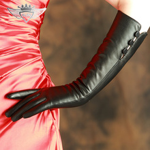 Free Shipping Women Genuine Leather Gloves 40cm Long Top Quality Goatskin Winter Black Driving Sheepskin X99