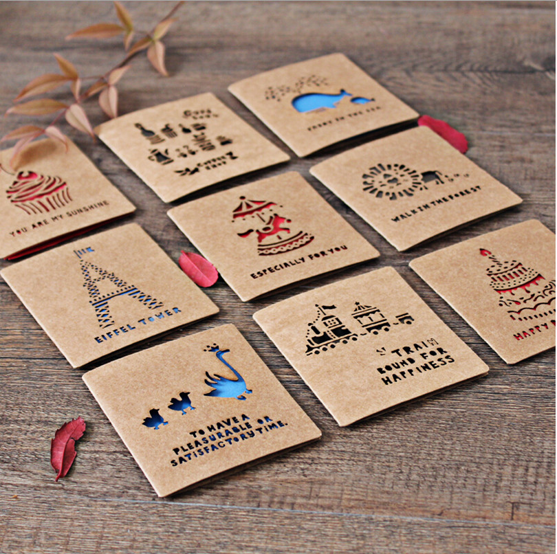 Kraft Paper Cute Mini Vintage Cartoon Wedding Invitation