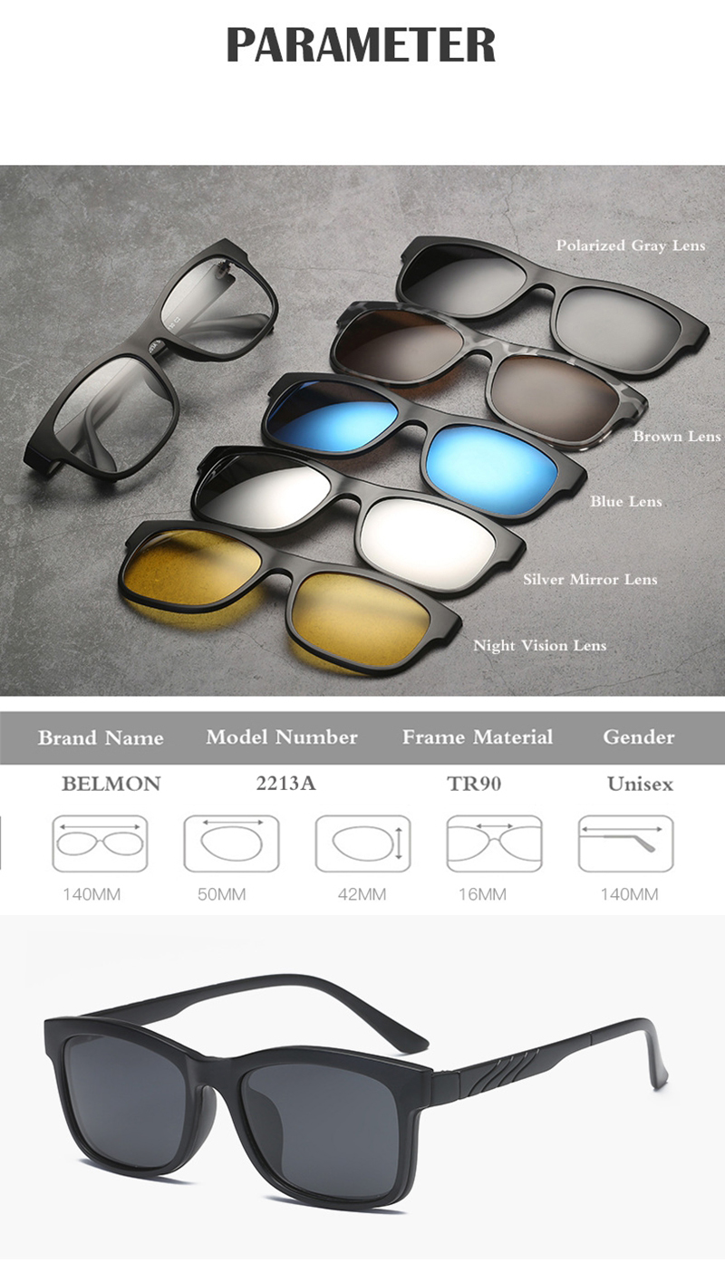 Belmon Spectacle Frame Men Women With 5 Pcs Clip On Polarized Kacamata 2202a Choiceyou Can Add The And One Of These Lenses To Shopping Cartthen Pay Together We Will Make Into Finished Prescription Glasses Ship You