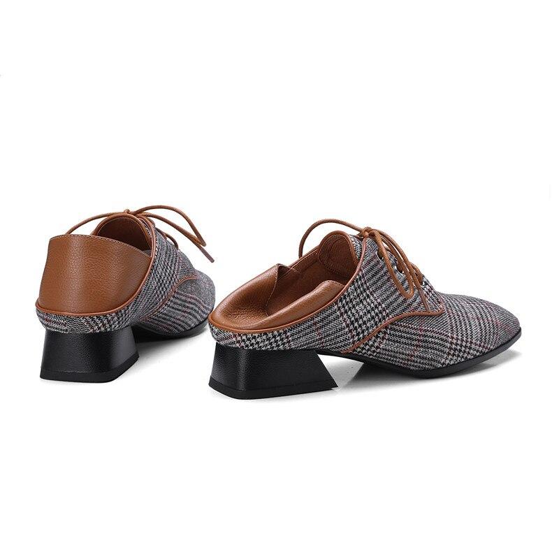 Las brown Mujer Mujeres Pie Black Dedo Zapatos Pisos Moda Primavera A Cuadros De Tamaño Loafers Loafers Damas Creepers Cuadrado 42 Mocasines Casuales Mulas Del Zapatillas XTwxgIp