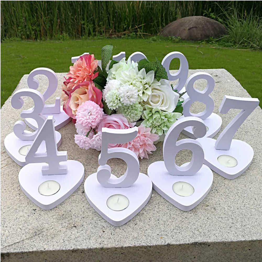 1-10 Wooden Table Numbers Set with Base Birthday Wedding Party Decor Novel Hot