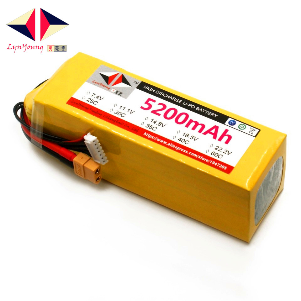 LYNYOUNG 6S lipo battery 22.2V 5200mAh 35C MAX 70C For rc Boat Quadcopter Car Drone helicopter part lynyoung battery lipo 4s 3000mah 14 8v 35c for rc bike drone boat plane car truck helicopter
