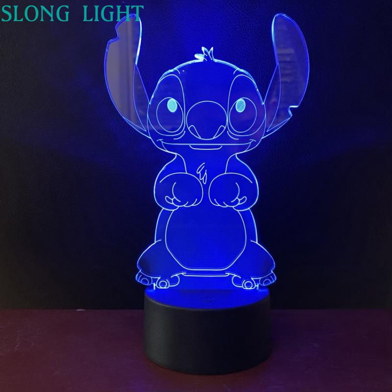 Cartoon Teddy Stitch Night Light LED 3D Illusion Decorative Lamp Child Kids Baby Nightlight Stich Desk Lamp Stitch Dog Bedside