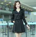 women's fashion trench coat female slim long windbreaker bowknot fashion trench for women plus size 2015 spring new FY15030901