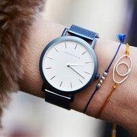 Роскошные женские часы ROSEFIELD с платьем, часы-браслет, синие кварцевые наручные часы из нержавеющей стали, классические женские повседневные...