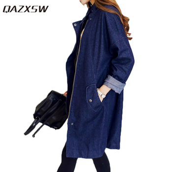 QAZXSW 2018 New Spring Casual Long Denim Shirt Women Long Sleeve Stand Collar Vintage Blouse Shirts Harajuku Jean Shirt HB550 фото