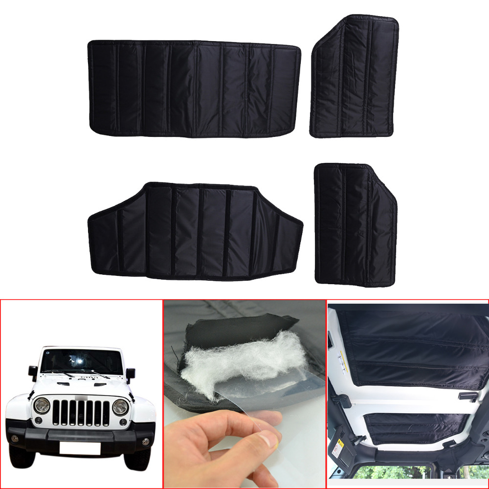 Black Hardtop Sound Deadener Headliner Insulation For Jeep JK Wrangler 4-Door 2011-2017 Hard Top car styling // for jeep wrangler jk anti rust hard steel front
