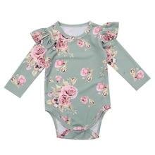 Детские топы с цветочным принтом и длинными рукавами для новорожденных девочек; боди; одежда из хлопка; осенняя одежда для маленьких девочек