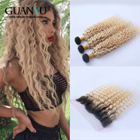 Guanyuhair Ombre 1B/613 Malaysian Blonde Deep Wave Bundles With Lace Frontal Remy Hair Blonde Curly Hair Weave With Dark Roots