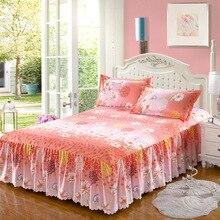Модный корейский стиль саржевое изысканное нескользящее покрывало шлифованная кровать юбка принцесса Одиночная Двойная Толстая кровать 2,0 м кровать