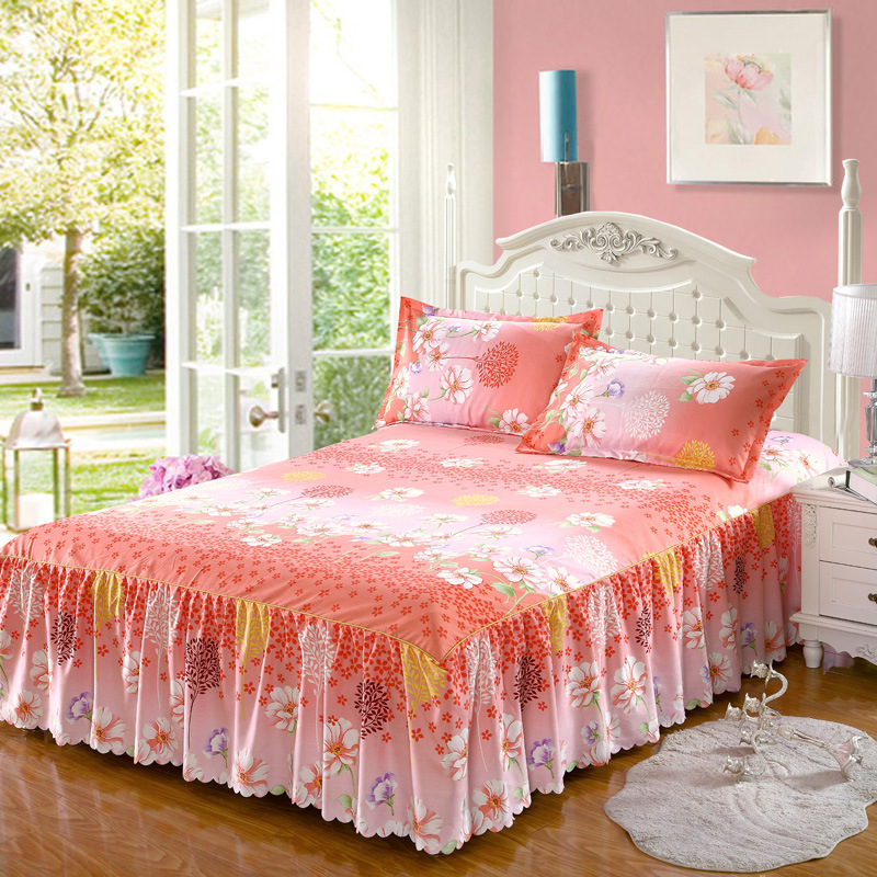 Fashion Korean Style Twill Exquisite Non-Slip Bedspread Sanding Bed Skirt Princess Single Double Thick Bed Cover 2.0m Bed