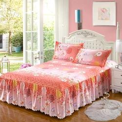Moda estilo coreano sarja requintado não-deslizamento colcha lixar saia de cama princesa único duplo grosso capa de cama 2.0m cama
