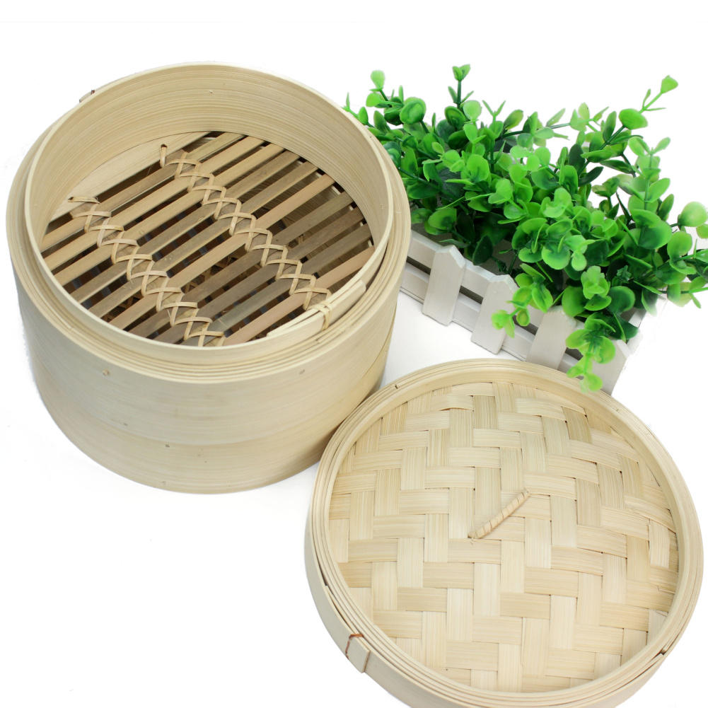 Bamboo Steamer Set Fish Dim Sum Rice Basket Lid Chinese Kitchen Cookware With Lid