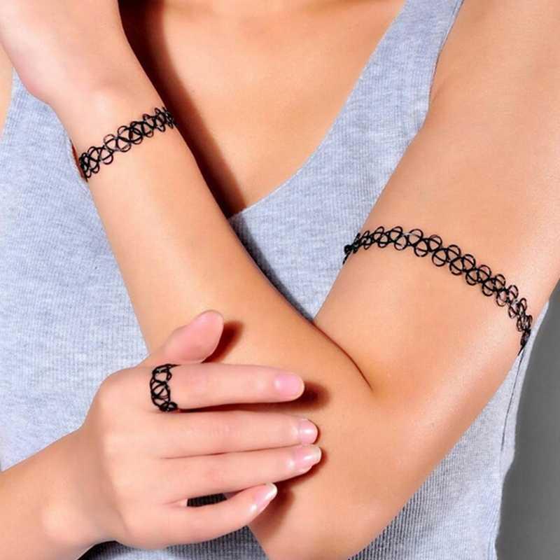 1 ชุดสไตล์ฤดูร้อน Collares ผู้หญิงยืดหยุ่น Vintage Gothic Punk Tattoo สร้อยคอ Choker สร้อยข้อมือปรับยืด