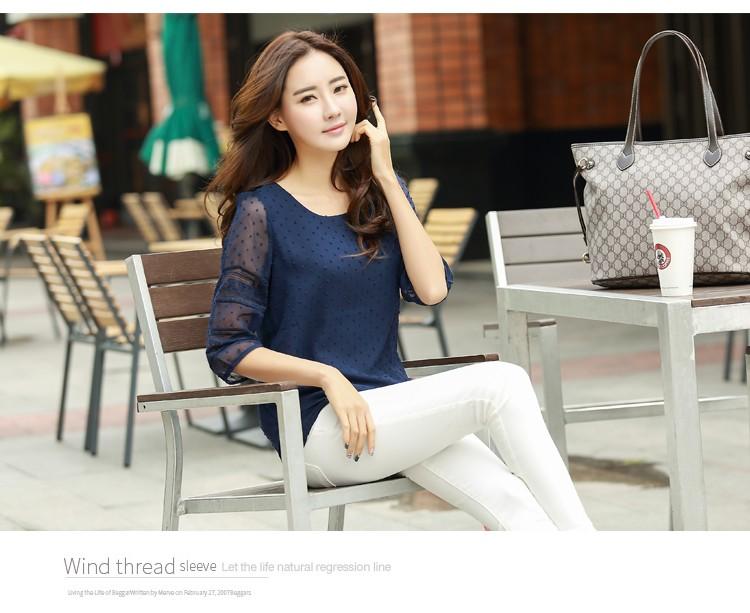 HTB1H3wBLVXXXXchXXXXq6xXFXXX1 - women blusas lace half sleeve chiffon blouses shirts women