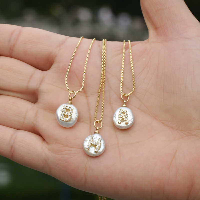 white CZ initial 26 alphabet letter natural coin freshwater pearl charm gold silver pendant thin chain choker necklace for women