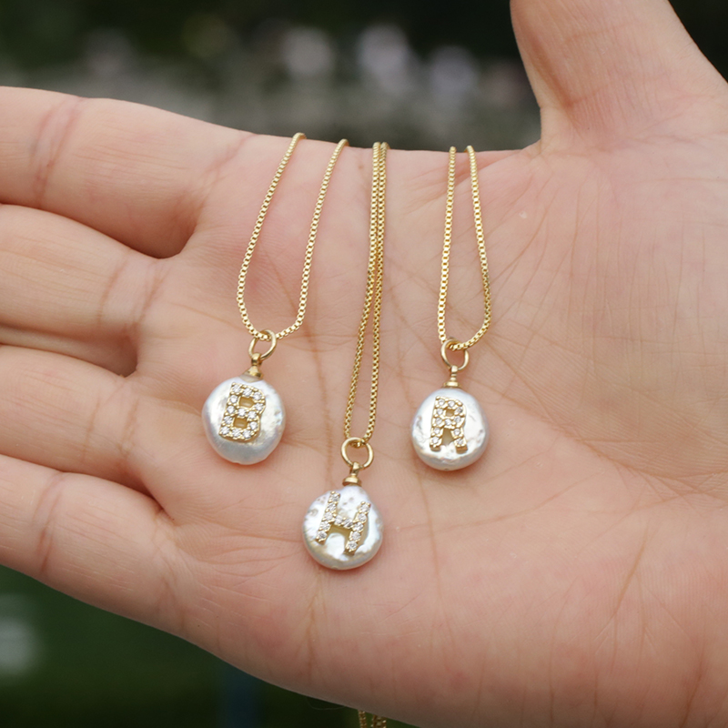 white CZ initial 26 alphabet letter natural coin freshwater pearl charm gold pendant thin chain choker necklace for women