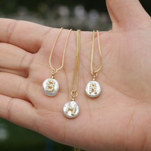 white CZ initial 26 alphabet letter natural coin freshwater pearl charm gold silver pendant thin chain choker necklace for women(China)