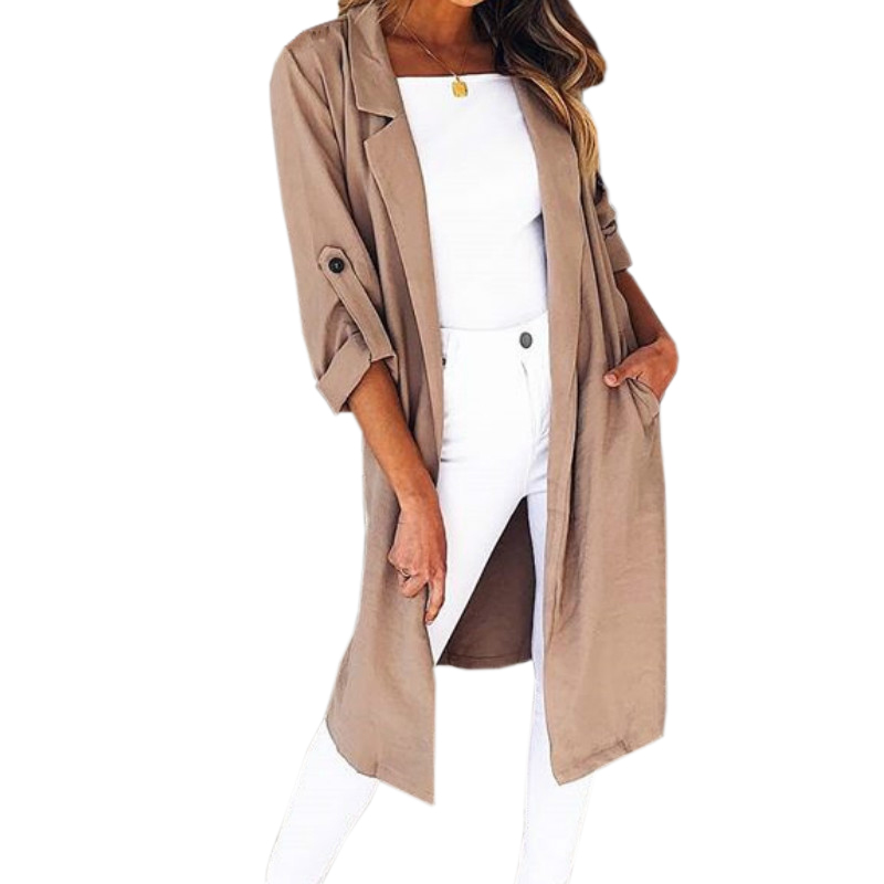 Autumn Women Work Wear Trench Pockets Casual Elegant Lady Long Trench Coat Buttons Open Stitch Coats 2018 Plus Size Female GV082