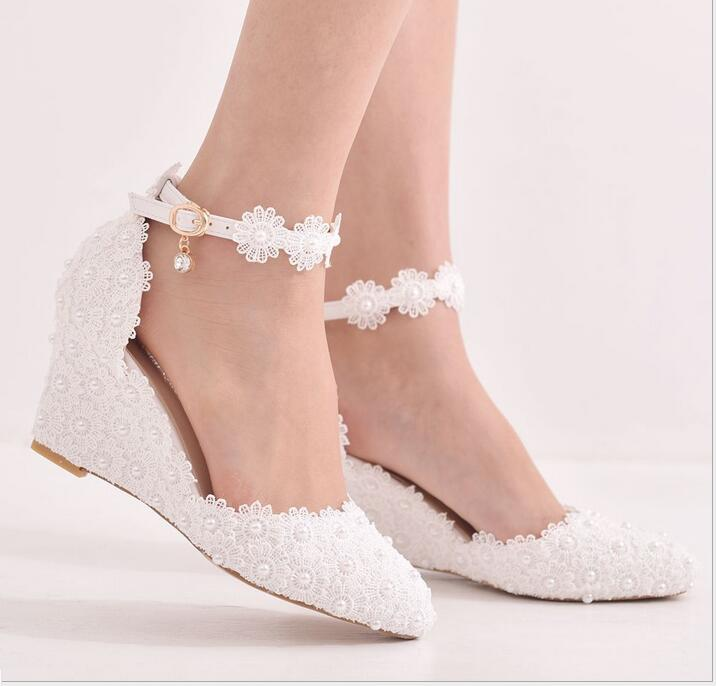 New arriver Crystal Queen Lace 8CM Wedges Heel Woman Wedding Shoes Bride White Lace UP Sweet
