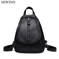 MIWIND Women Backpack Genuine Leather Backpacks Softback Bags Brand Name Bag Sheepskin Backpacks Girls Backpack WUB088
