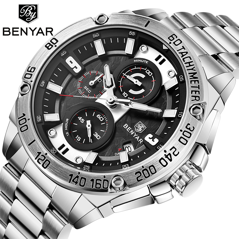 NEW Men's Watches BENYAR Top Luxury Brand Quartz Watch Men Military Automatic Date Waterproof Chronograph Relogio Masculino