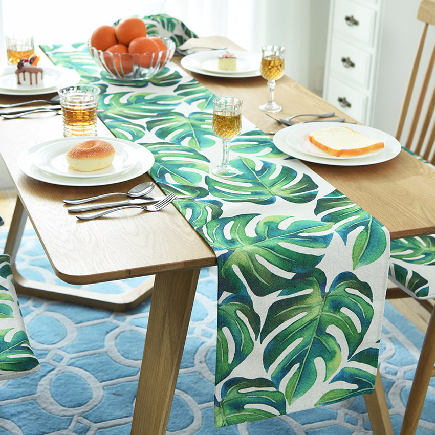 Nordic Monstera Table Runner Dining Table Mat Plant Leaf Non-slip Pads Placemat Home Decor Hotel Wedding 5 Sizes Camino De Mesa