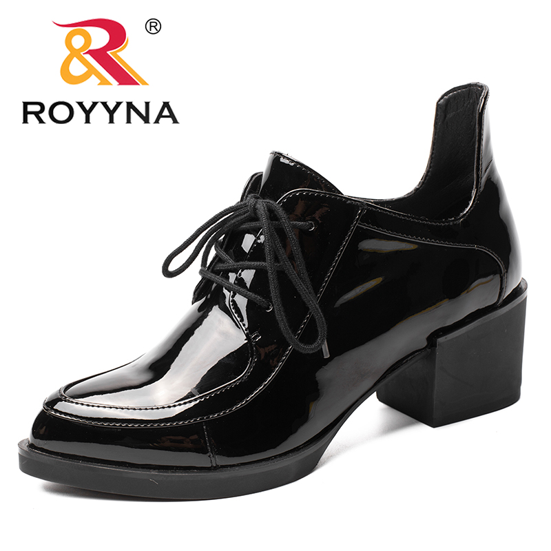 ROYYNA 2017 New Fashion Style Women Pumps Square Heel Women Shoes Pointed Toe Women Shoes Lace Up Patent Leather Ladies Shoes xiaying smile new spring autumn women pumps british style fashion casual lace shoes square heel pointed toe canvas rubber shoes