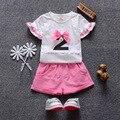 2016 Estilo Del Verano Del Bebé Niñas Ropa Conjuntos de Bebé Del Algodón (Camisetas + Shorts) 2 unids Bebé Juegos de la ropa Muchachas de la Ropa Infantil