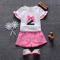 2016 Summer Style Baby Girls Clothes Cotton Baby's Sets (T-Shirts+Shorts)2pcs Baby Clothing Suits Girls Infant Clothes