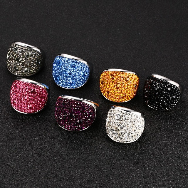 Vnox Crystal Rings For Women Multicolor Rhinestone Stainless Steel Wedding Femal