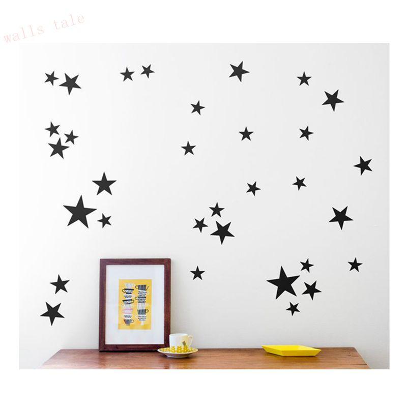 Gold stars pattern vinyl wall art decals nursery room