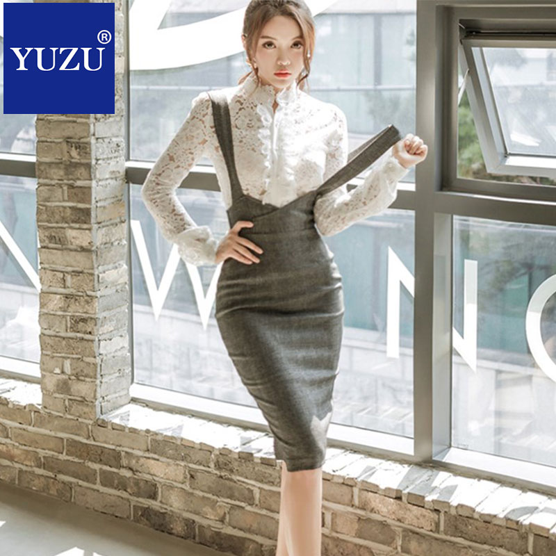 Women Two Piece Outfits White Lace Top And Skirt Set Elegant Gray Knee length Braces Skirt Long Sleeve Single breasted Shirt