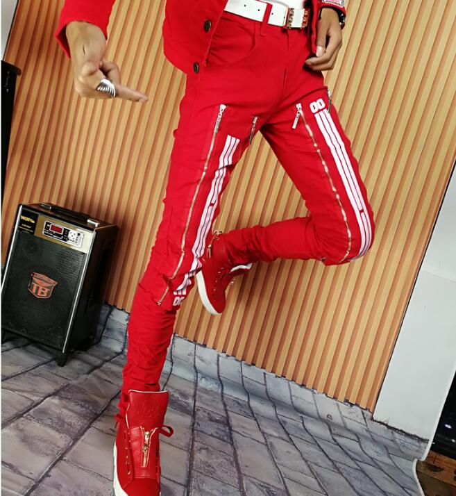 Autumn winter red personality fashion harem pants mens trousers pantalones hombre cargo feet pants for men pantalon homme stage