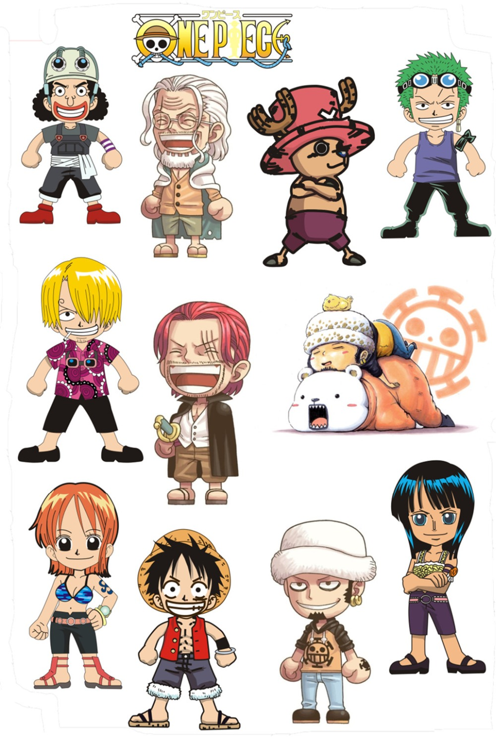New one piece stickers ace law wall stickers suitcase fridge laptop sticker waterproof anime decal 5 sheets set