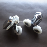 1 Set Top Pulley And Bottom Pulley Alloy Shower Pulley Wheels Arc Sliding Door Shower Room