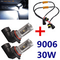 White 6000K 30W High Power 9006 HB4 LED Bulbs For Fog Driving Lights + 50W 6Ohm Load Resistor Errer Free For Benz BMW Audi