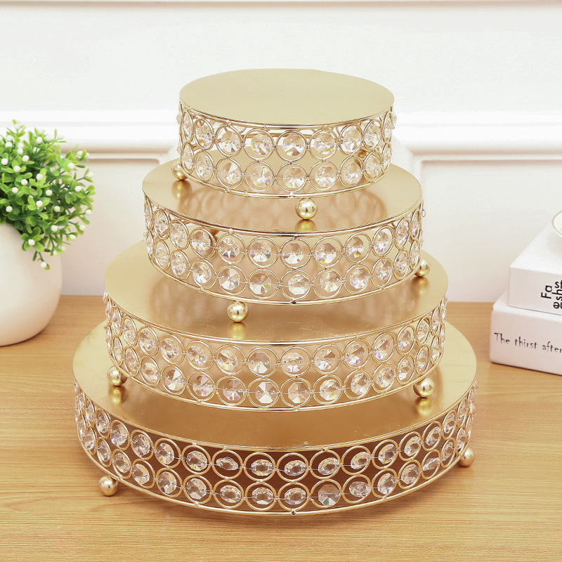 HeyMamba 10set Crystal Beads Cake Stand Gold plated Dessert Stand ...