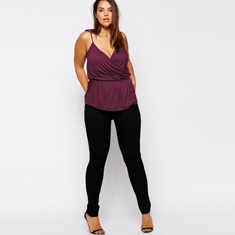 02 Women Camis Tops Slip top Plus Size XXXL 5xl 6xl 4xl V neck Black purple (4)
