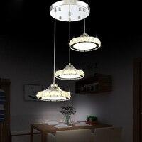 modern simple circular LED crystal pendant light restaurant three head living room dining room lamp