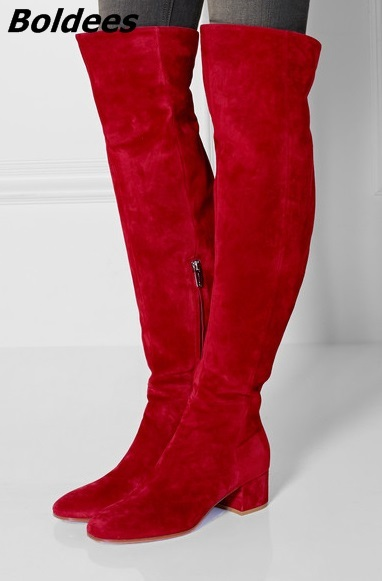 Stylish Women Simply Designer Red Suede Block Heeled Long Boots Round Chunky High Heel Knee High Boots Celebrity Design