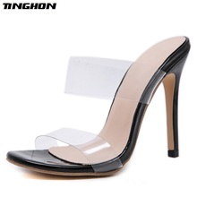 TINGHON Fashion Women Pumps PVC Thin Heel Summer Transparent Sexy Clear Daily Solid Black Shallow Size35-40